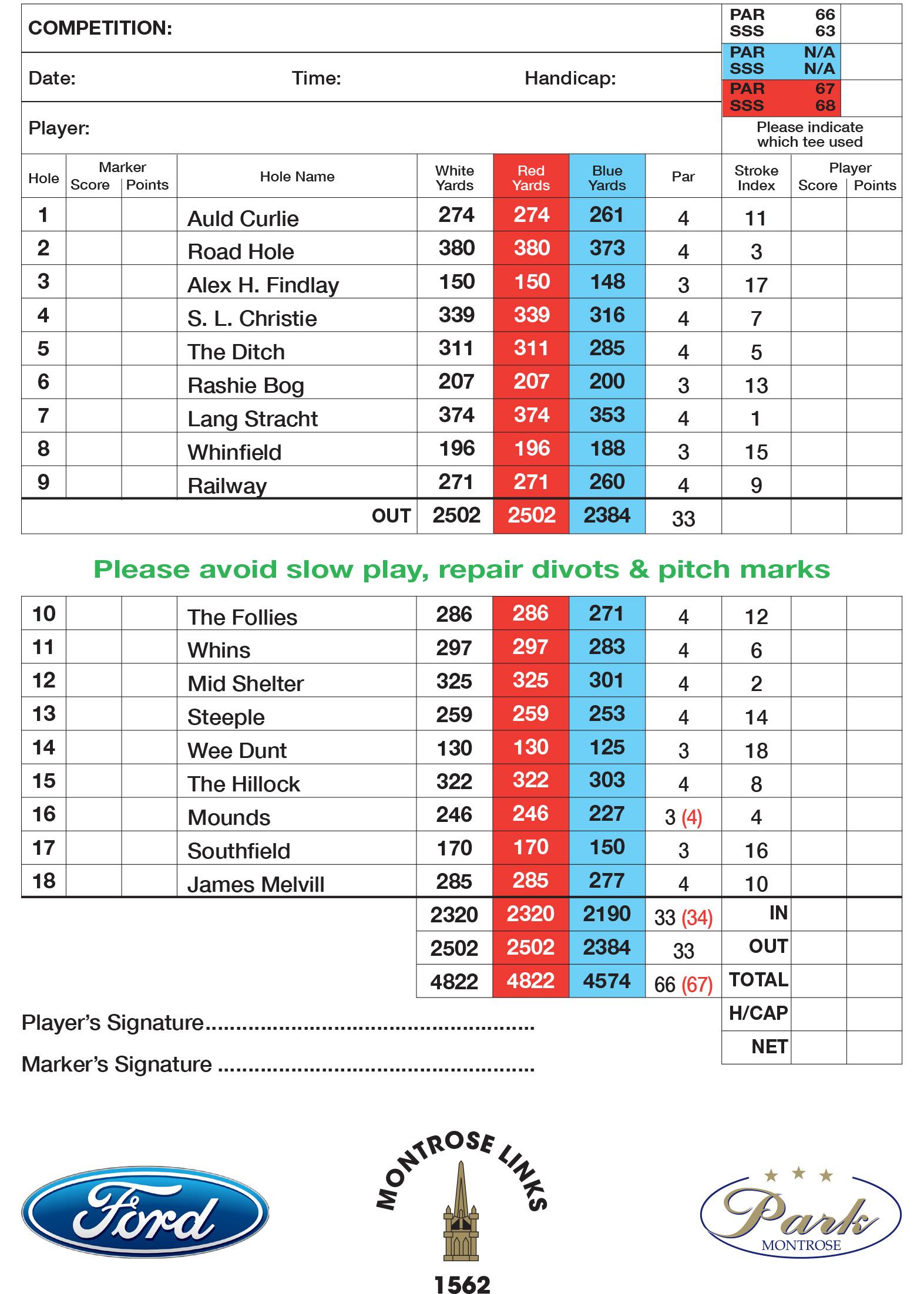 Broomfield Course Scorecard