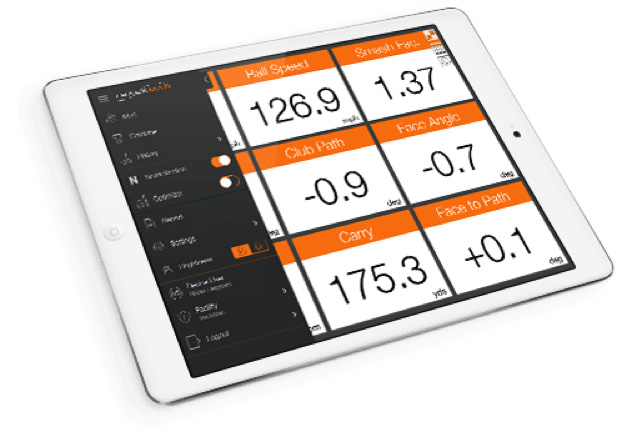 Trackman data on tablet