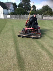Greens are mown with boxes off and brush mounted to further spread sand evenly over greens.