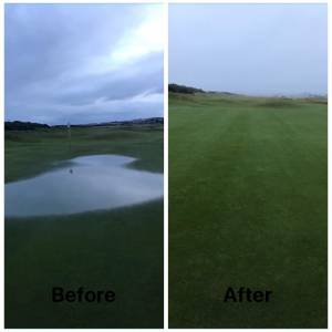 Figure 1. 4th green 1562 Course showing no surface water post v-drain after even more rainfall